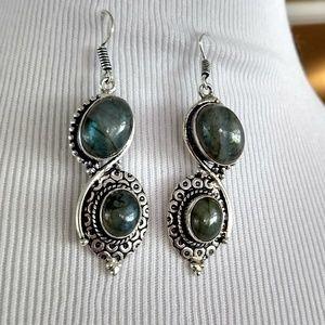Just beautiful labradorite stamped 925 earrings